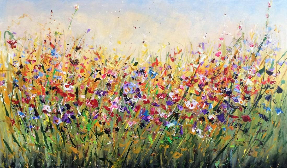 Schilderij bloemenveld 70x120