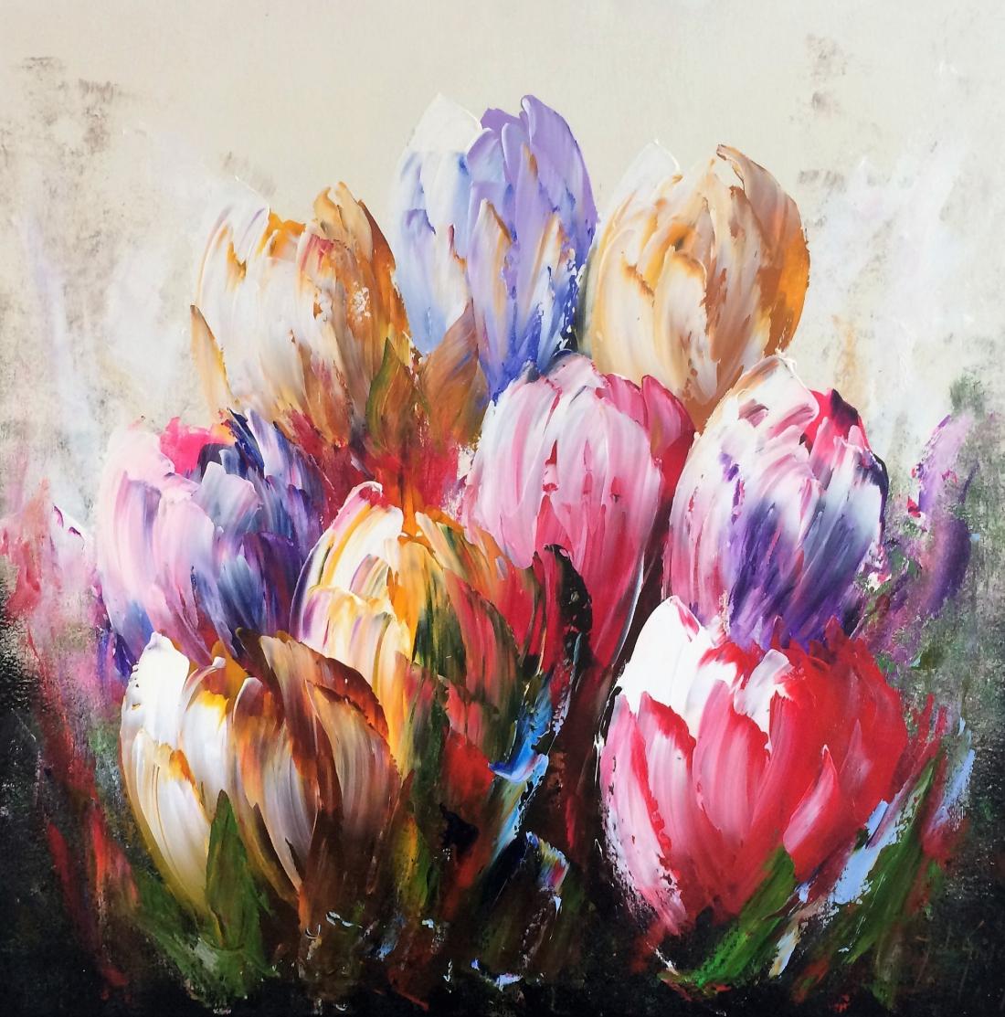 Schilderij tulpen 80x80