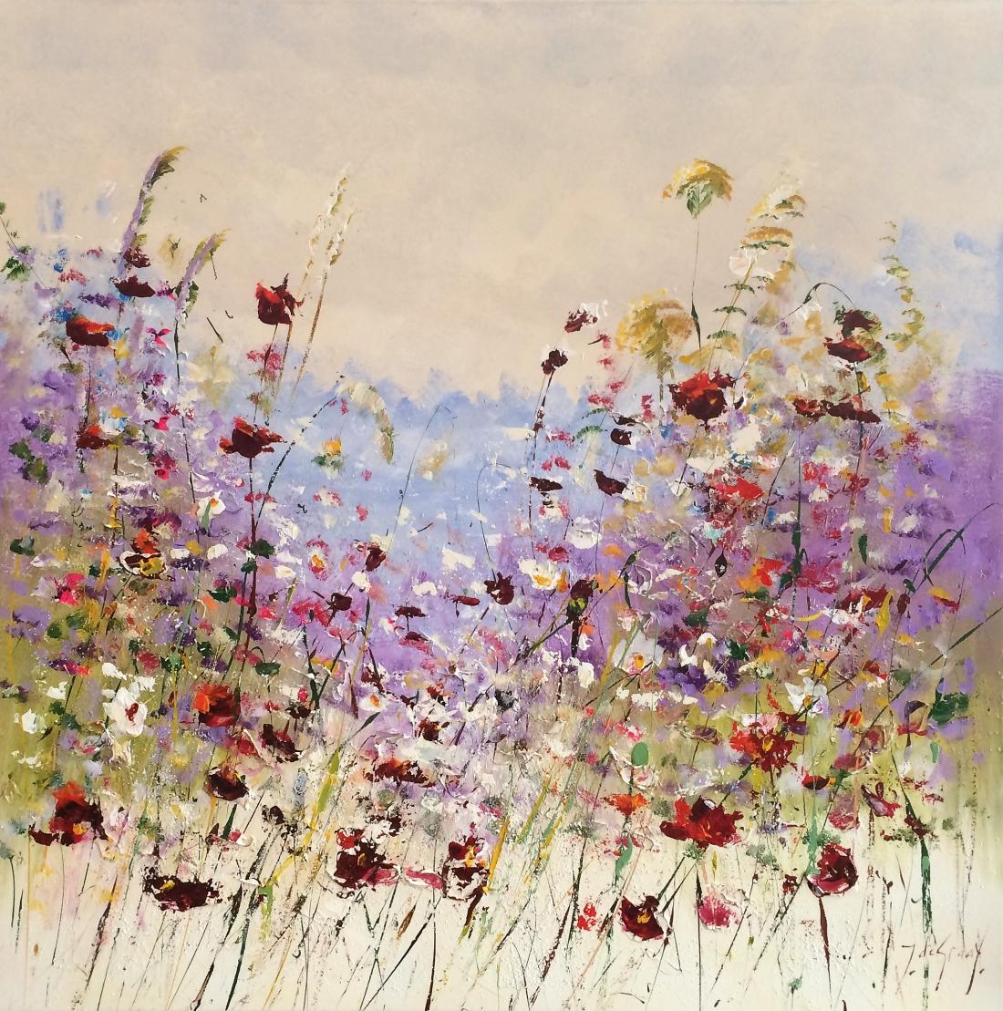 Schilderij bloemenveld 100x100