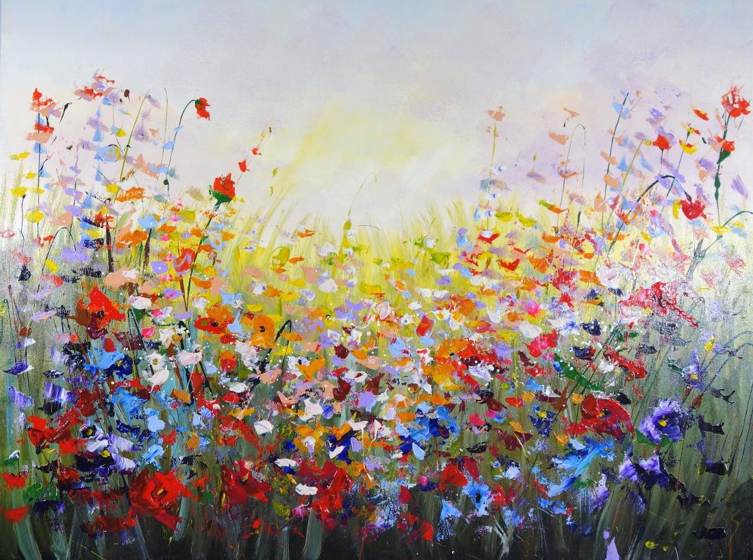 Schilderij bloemenveld 90x120