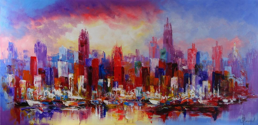 Schilderij modern stadsgezicht 70x140