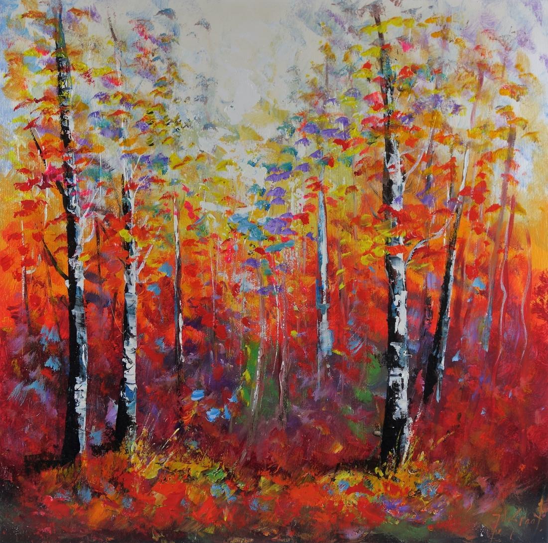 Schilderij bomen 80x80