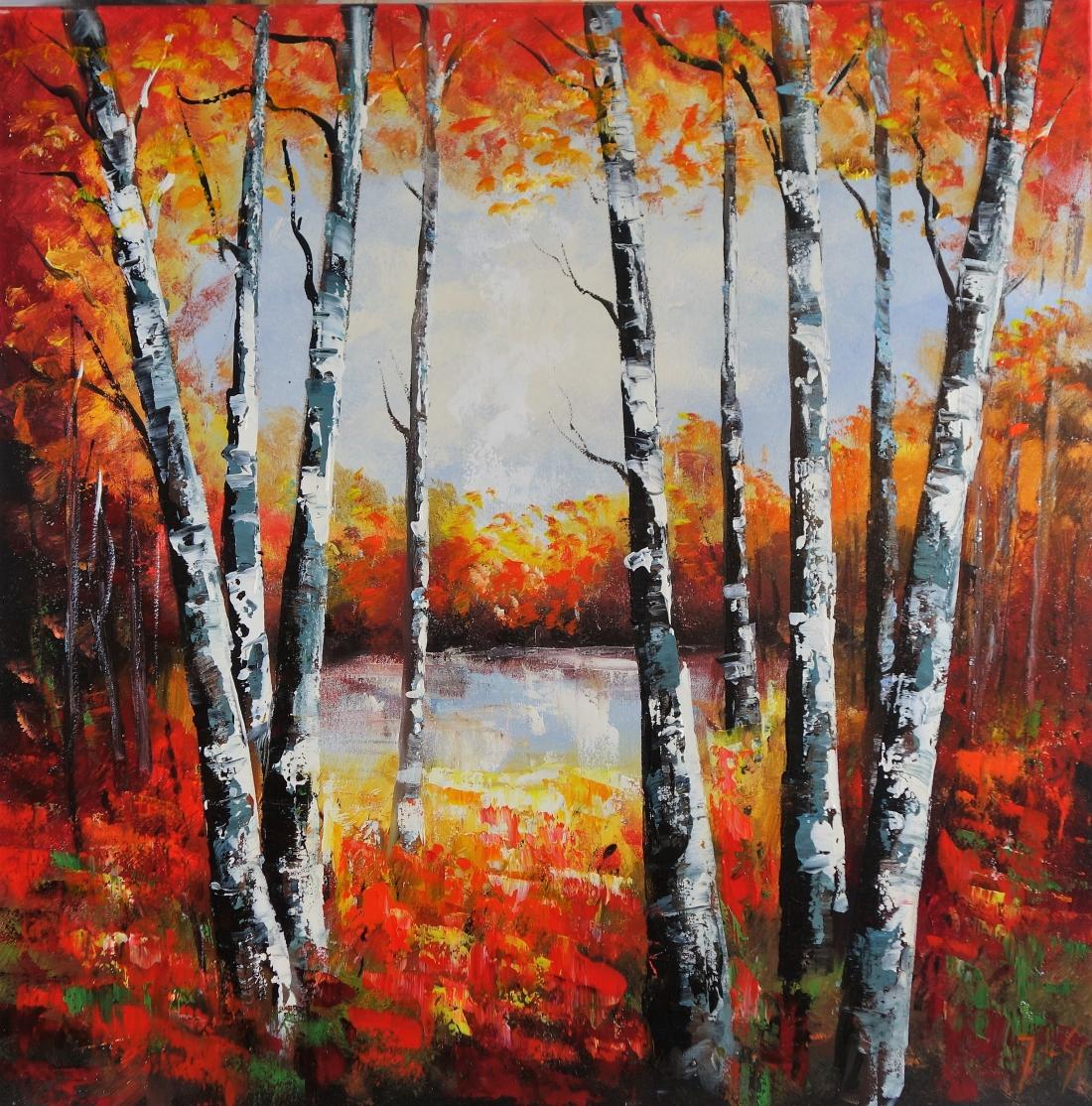 Schilderij bomen 90x90