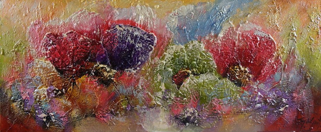 Schilderij bloemen 50x120