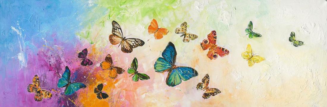 modern kleurrijk schilderij met vlinders 60x180