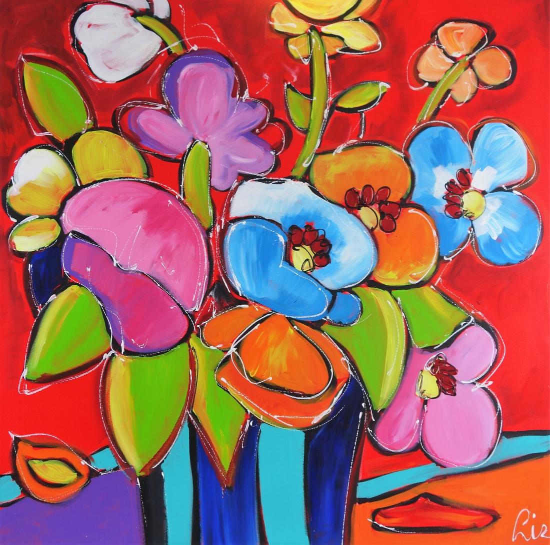 Schilderij bloemen modern 100x100