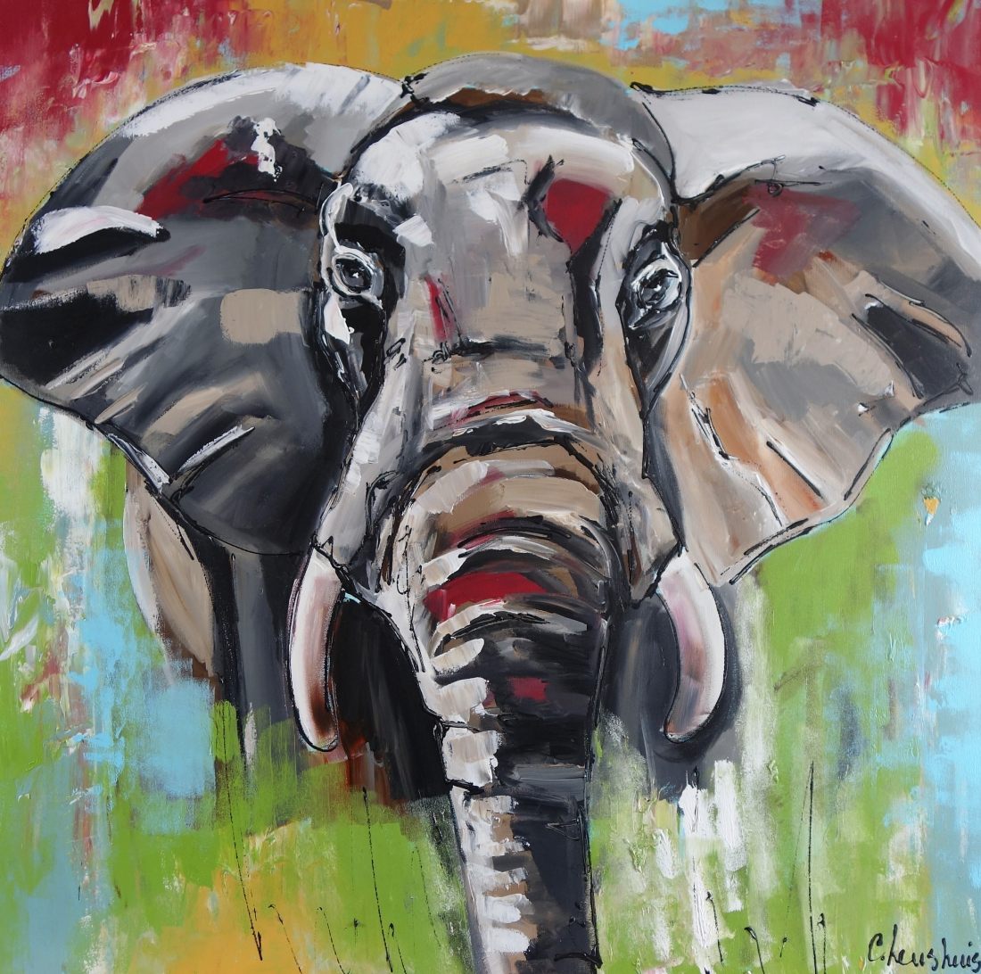 Schilderij olifant modern 100x100