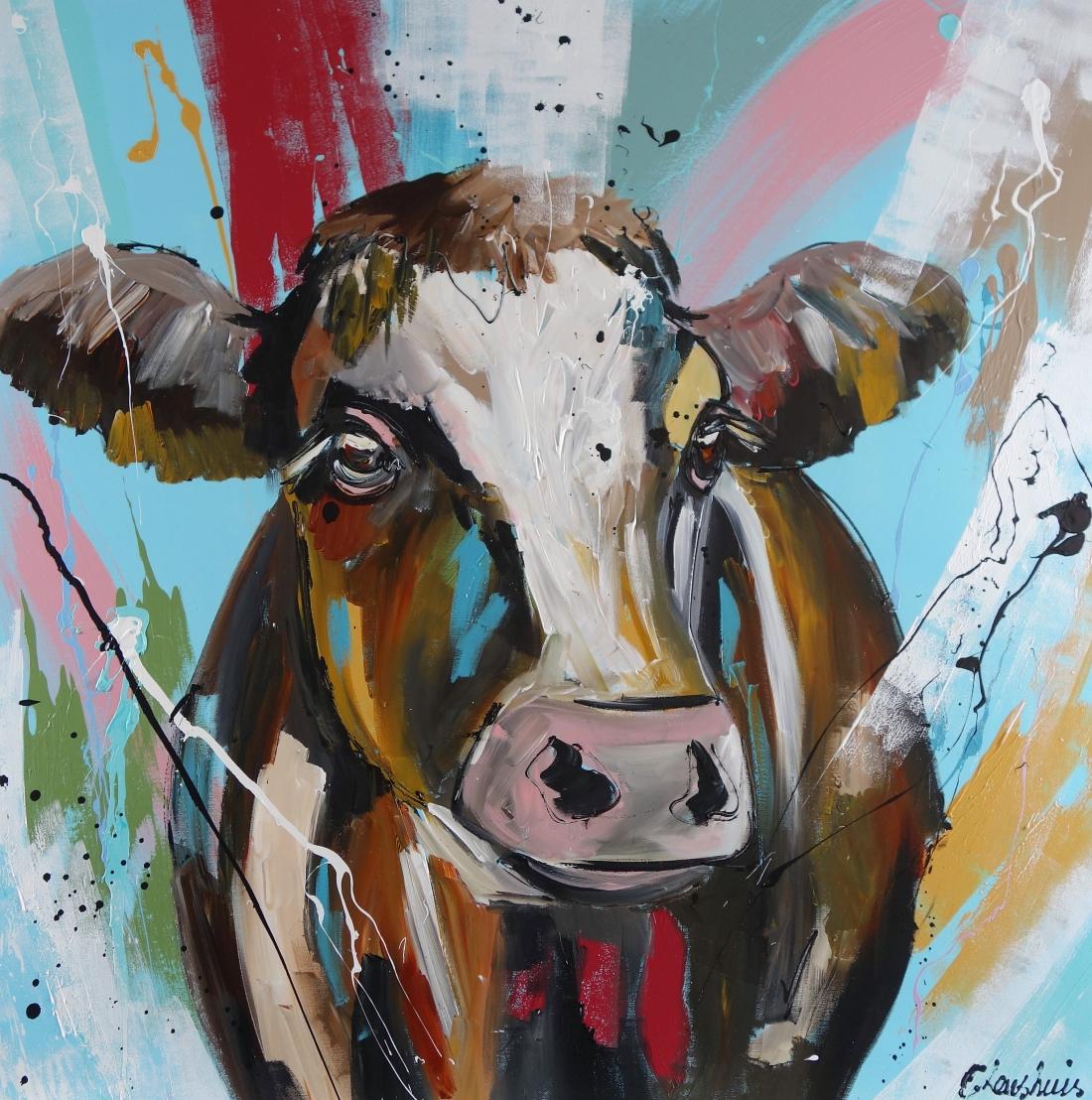 Schilderij koe modern 100x100