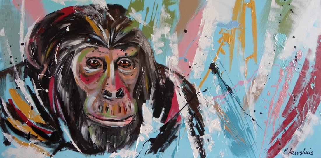 Schilderij aap modern 70x140