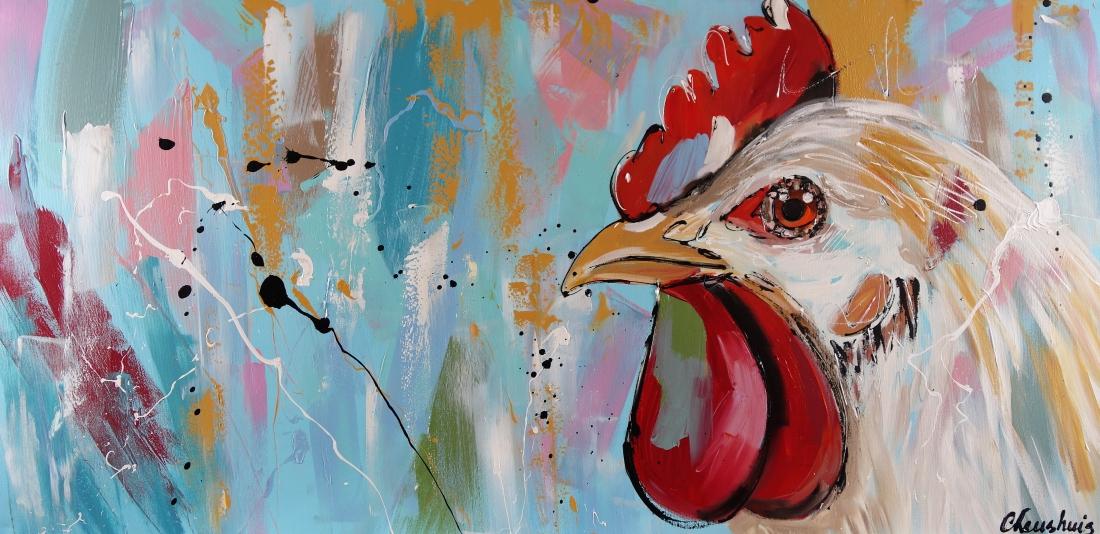 Schilderij haan modern 70x140