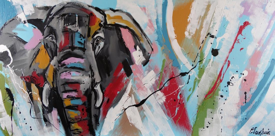 Schilderij olifant modern 70x140