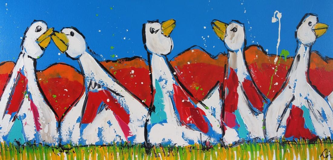 Schilderij ganzen modern 70x140