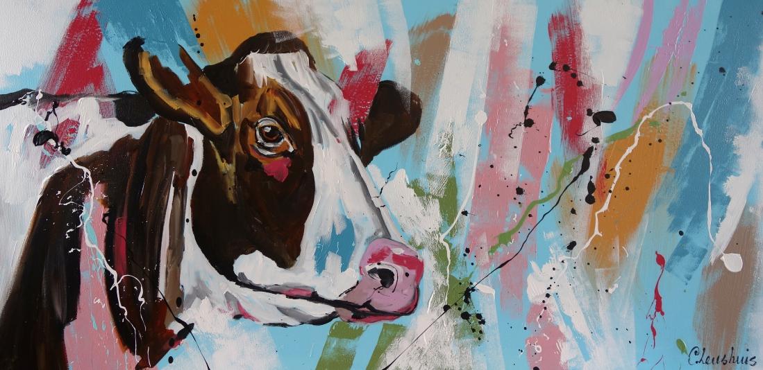 Schilderij koe modern 70x140