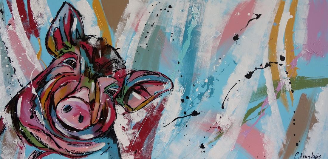 Schilderij varken modern 70x140