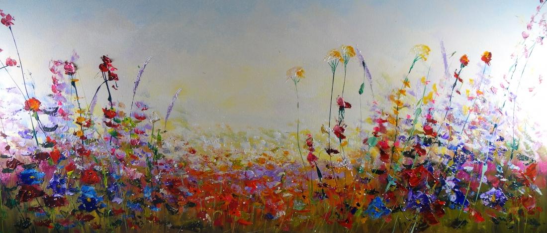 Schilderij bloemen 70x160