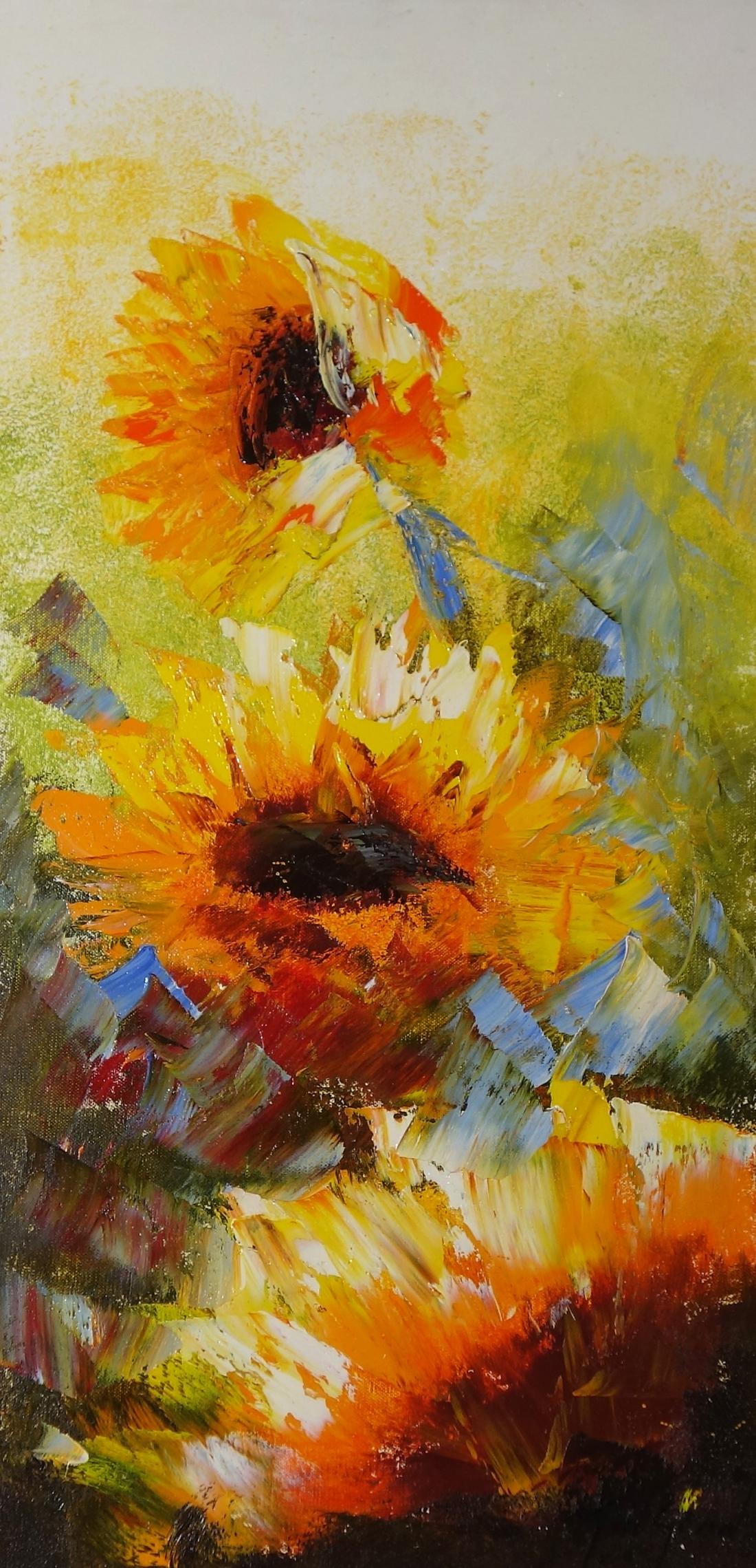 Schilderij zonnebloemen 40x80