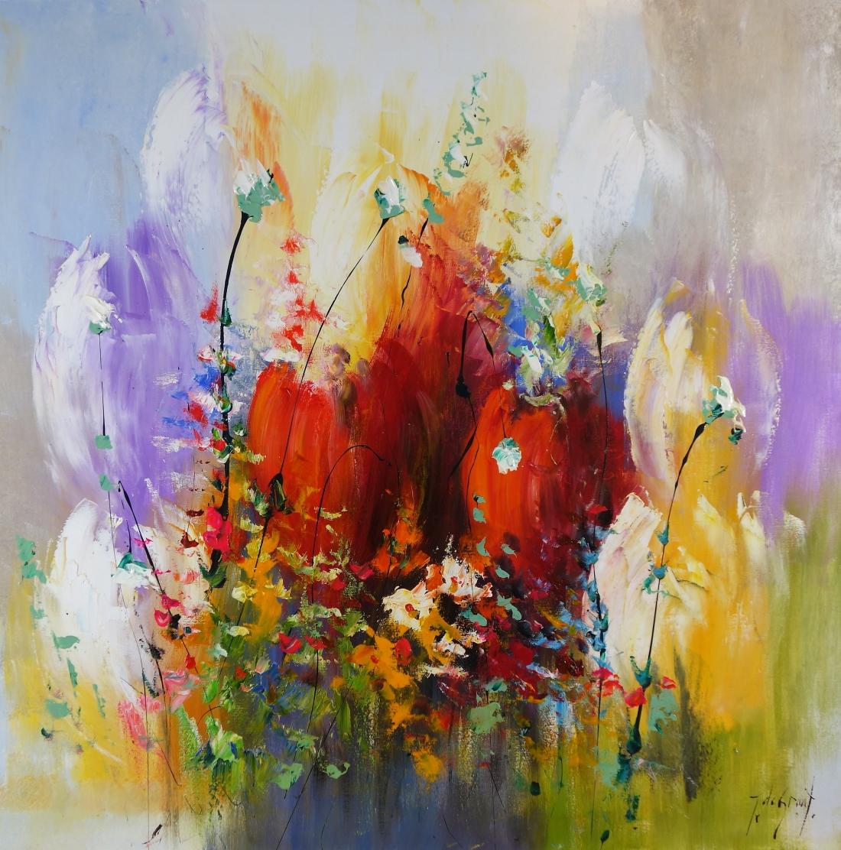 Schilderij tulpen 100x100