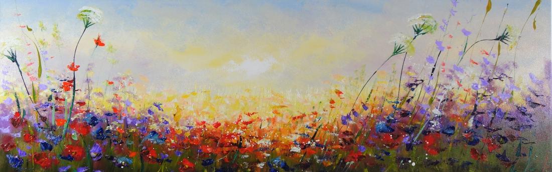 Schilderij bloemen 50x150