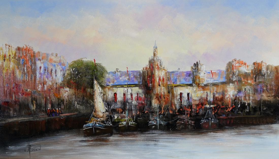 Schilderij haven 80x140