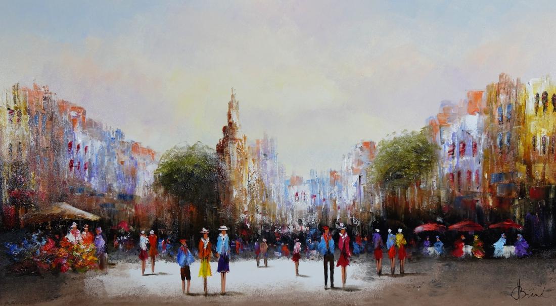 Schilderij stadsgezicht 80x140