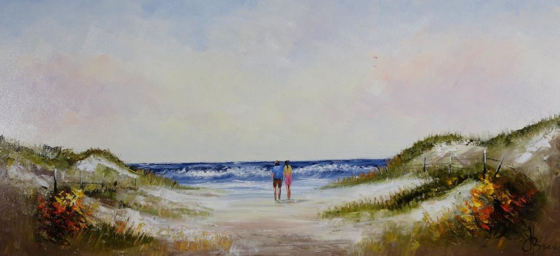 Schilderij strand en duinen  70x140