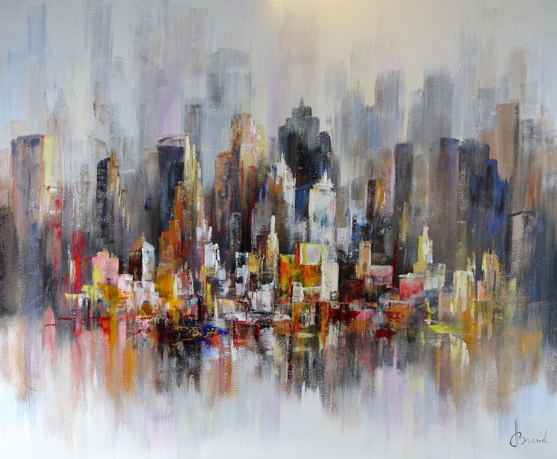 Schilderij Stadsgezicht modern 100x120