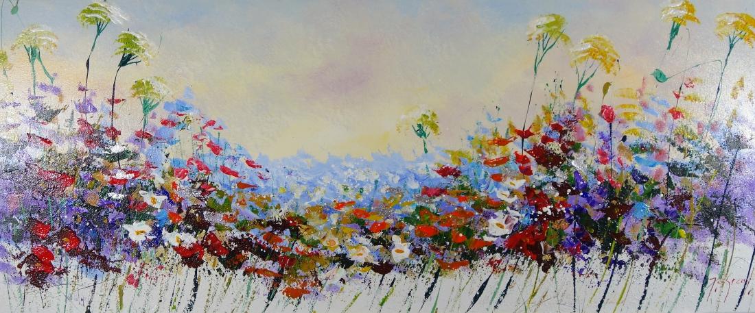 Schilderij bloemenveld 50x120