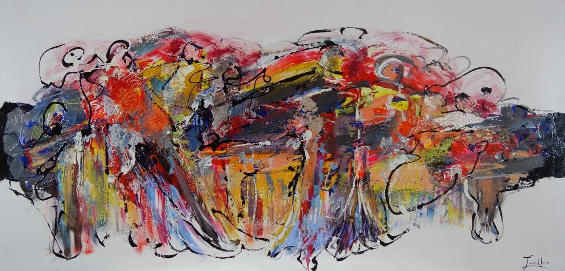 Schilderij abstract 80x160
