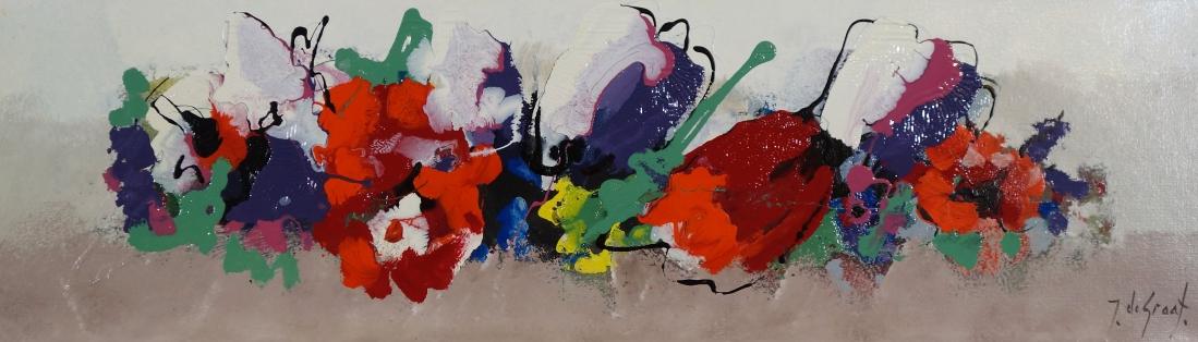 Schilderij bloemen 30x100