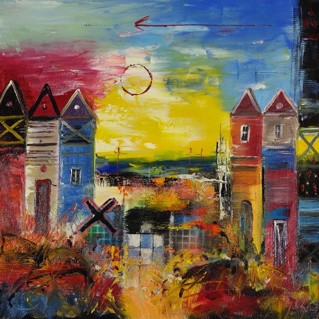 Schilderij Modern Stadsgezicht 60x60