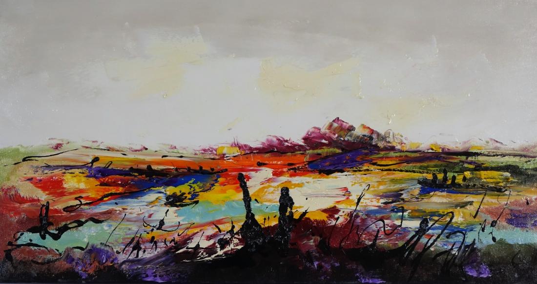 Schilderij landschap 40x80