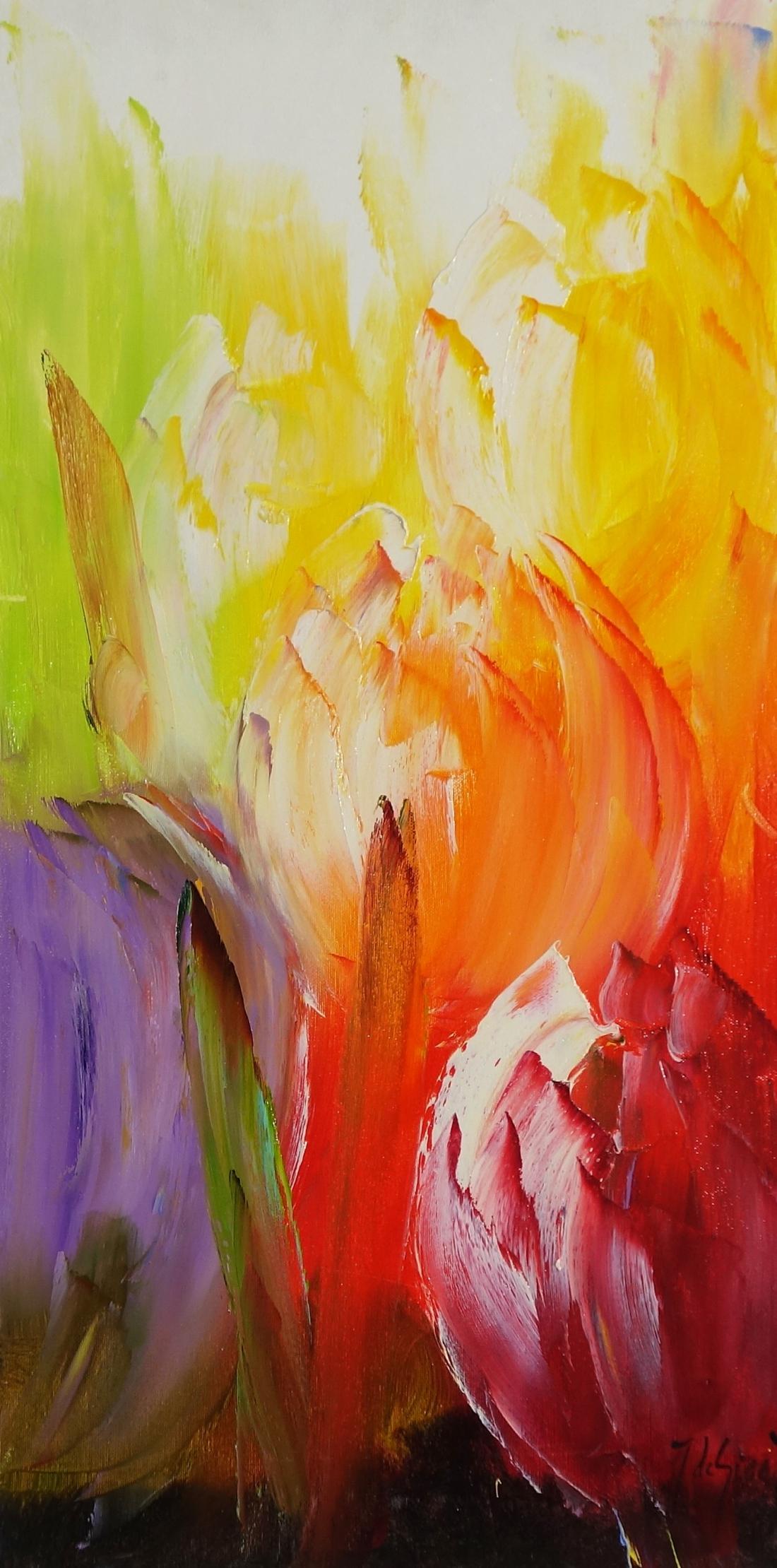 Schilderij bloemen 40x80
