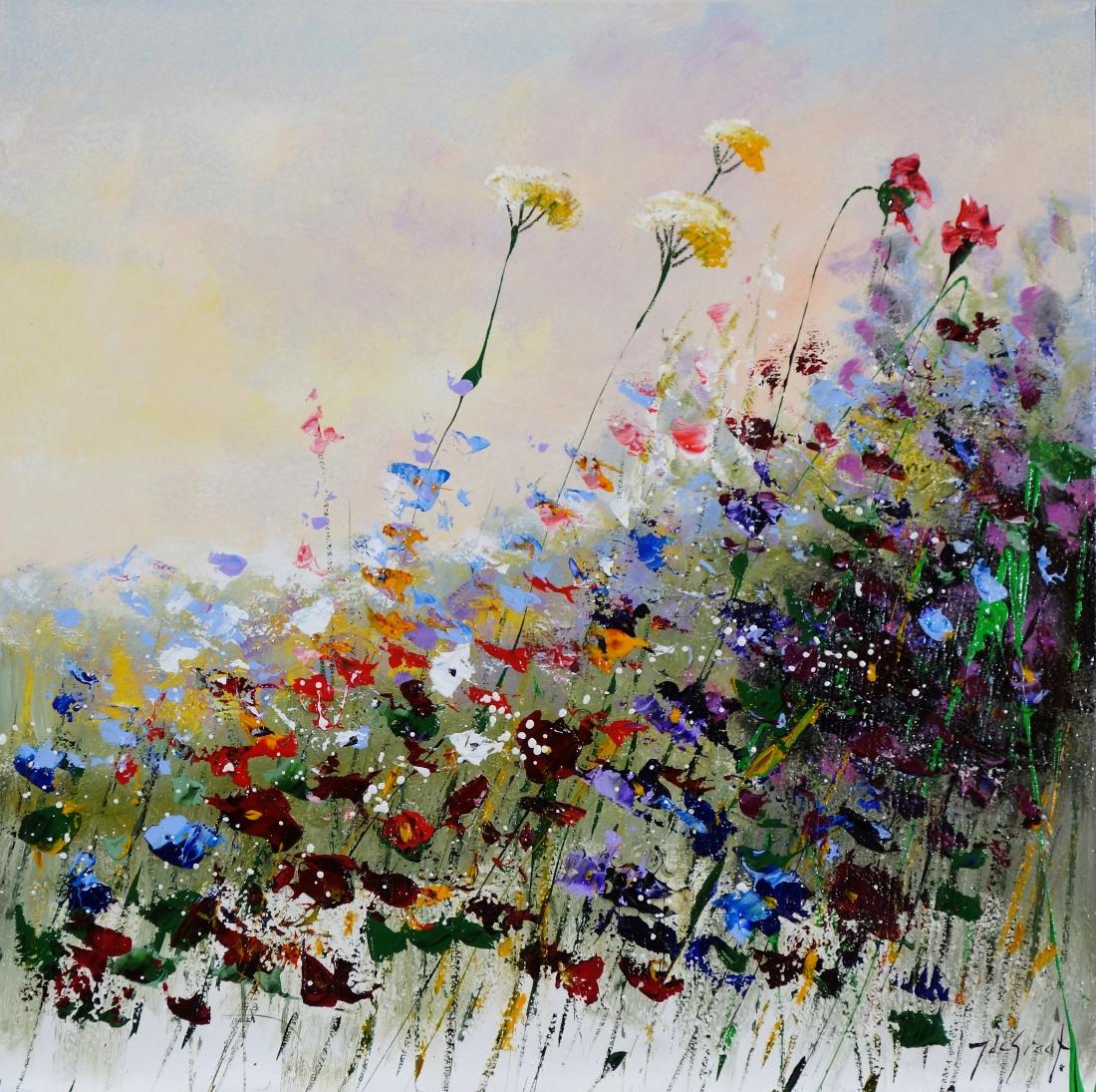 Schilderij bloemenveld 70x70