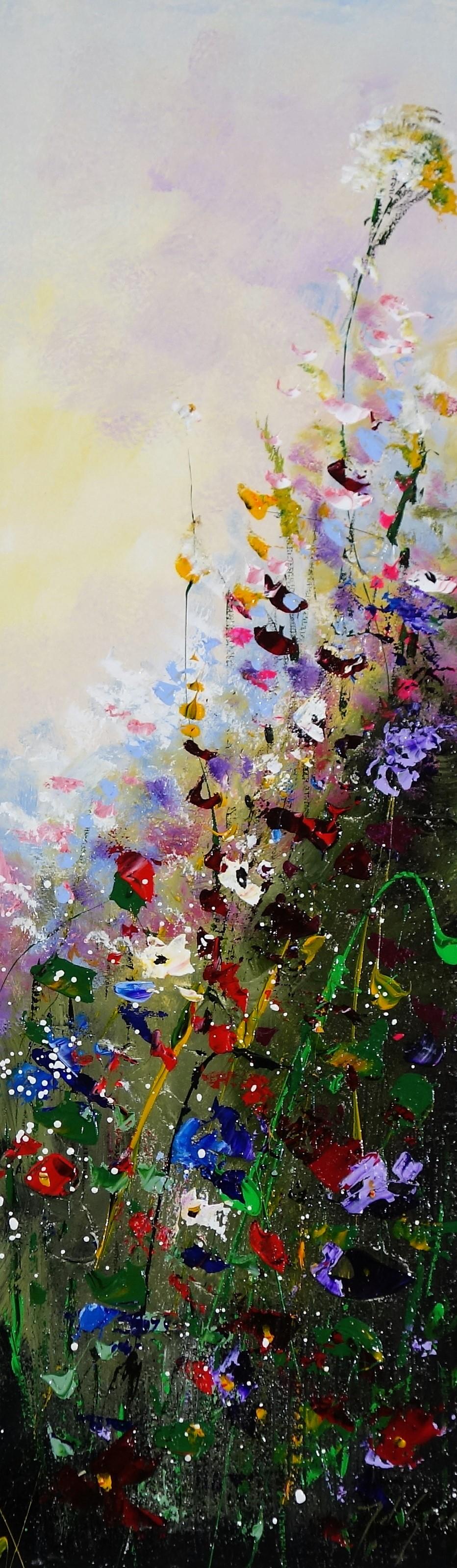 Schilderij bloemenveld 30x100