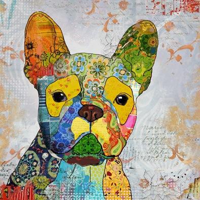 schilderij hond 80x80