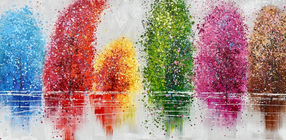 Schilderij kleurrijke bomen 100x200