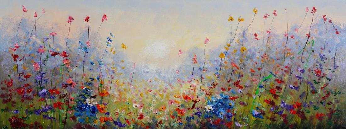 Schilderij bloemenveld 70x180