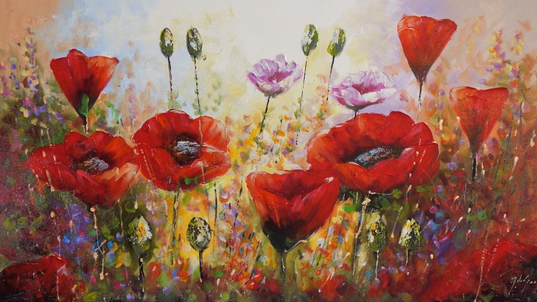 Schilderij bloemen 80x140
