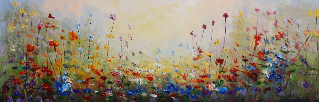 Schilderij bloemenveld 50x150