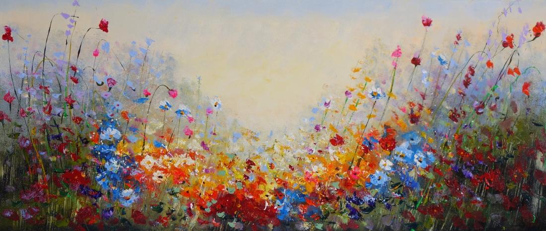 Schilderij bloemenveld 70x160