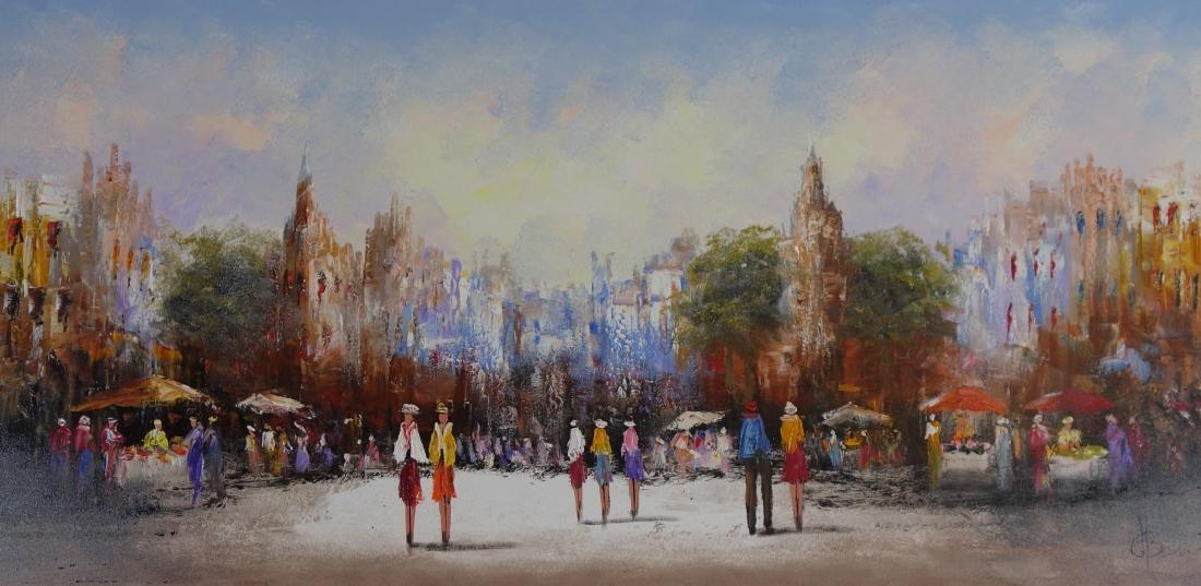 Schilderij stadsgezicht 80x160