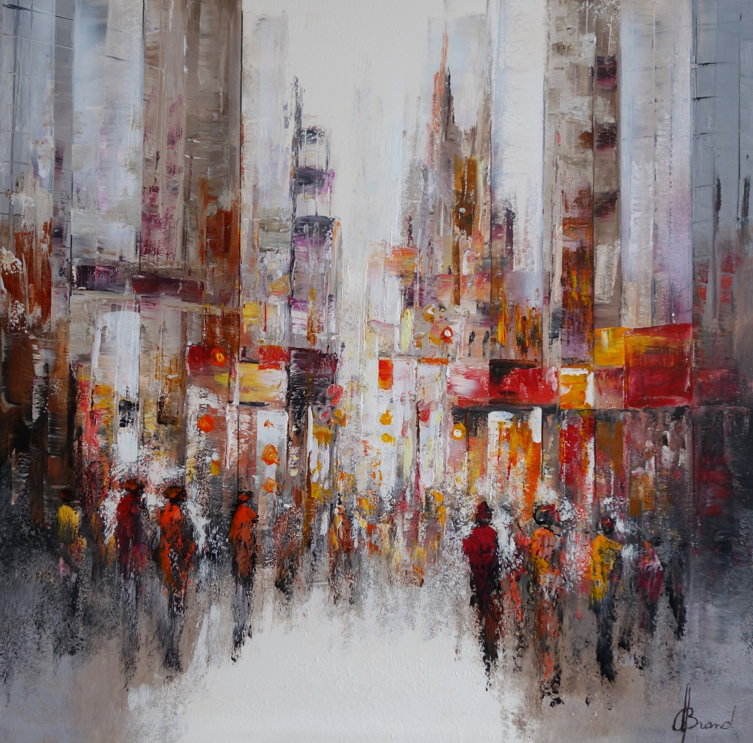 Schilderij Stadsgezicht modern 100x100