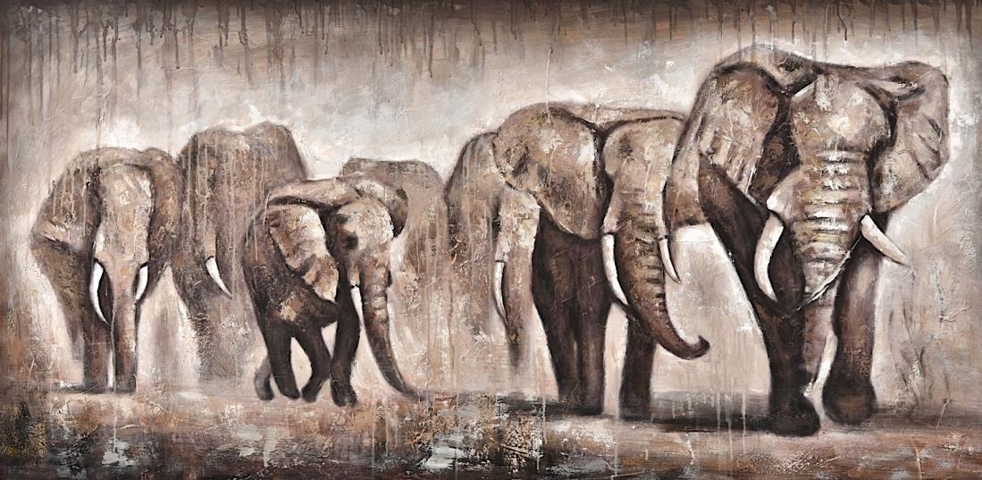 Schilderij olifanten 100x200