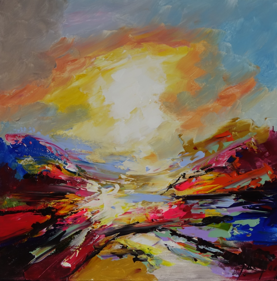 Schilderij Abstract landschap 50x50