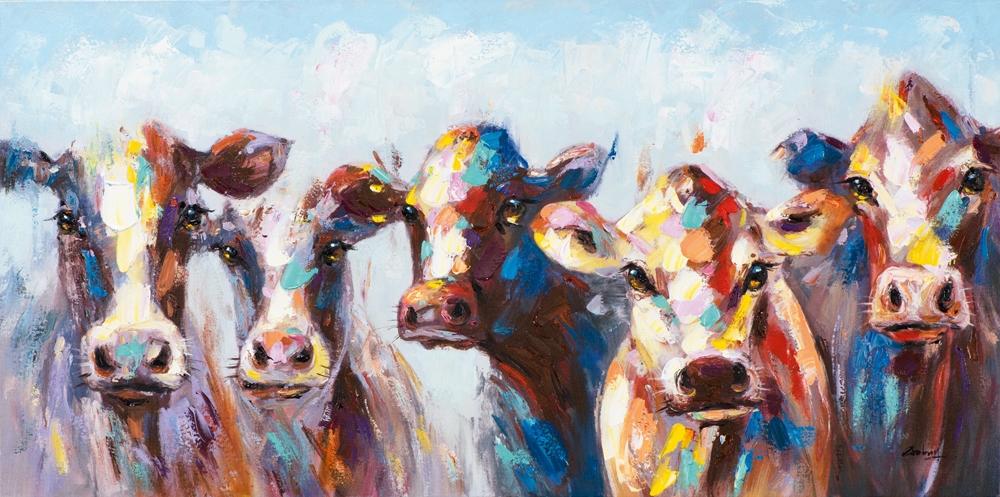 Schilderij koeien 50x100
