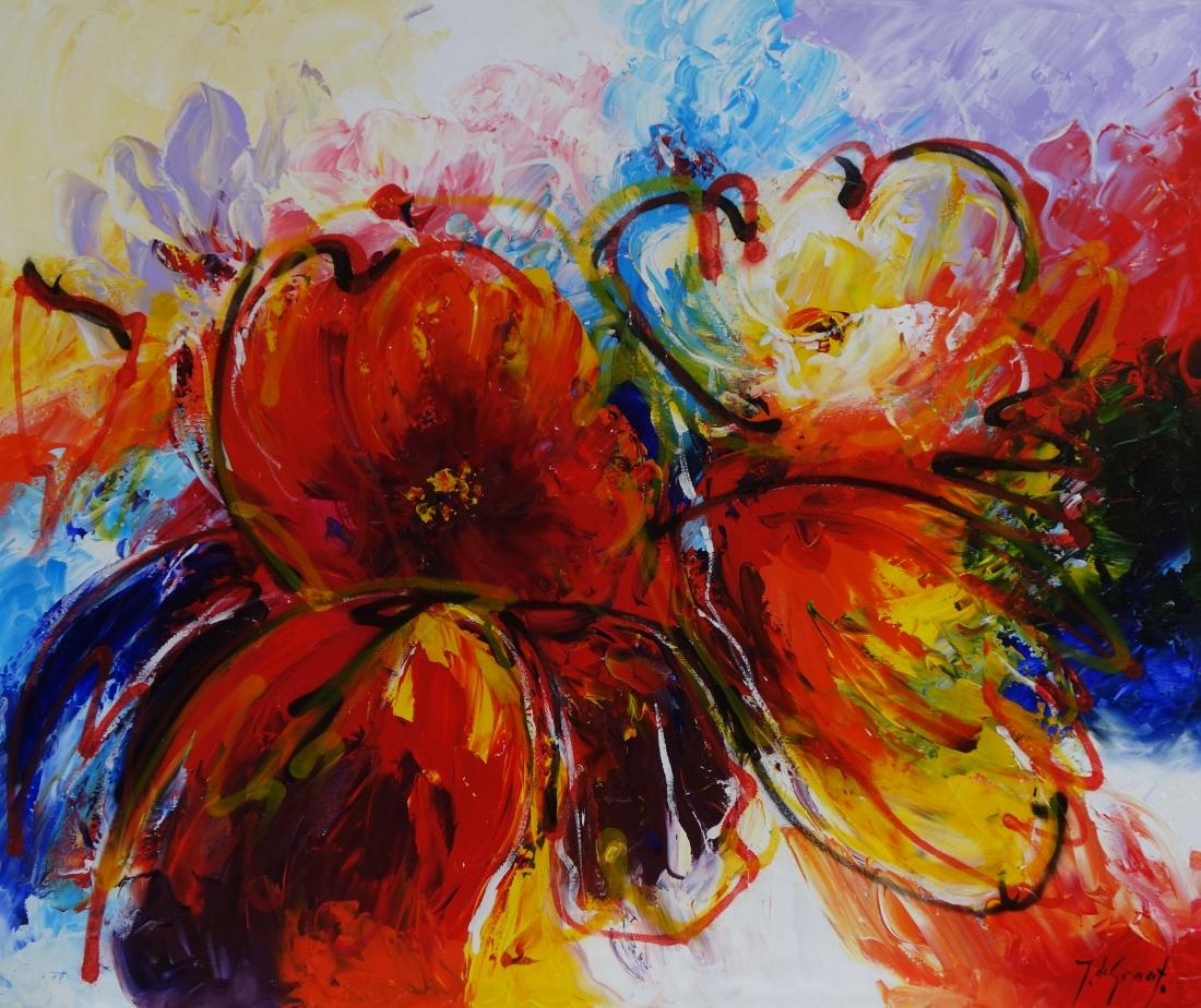 Schilderij bloem modern 100x120