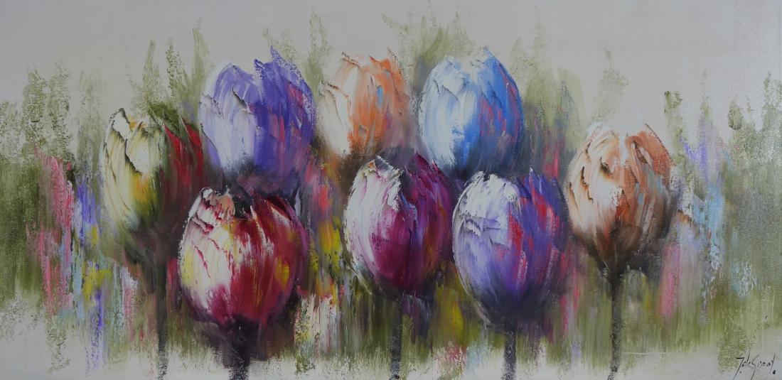 Schilderij tulpen 70x140