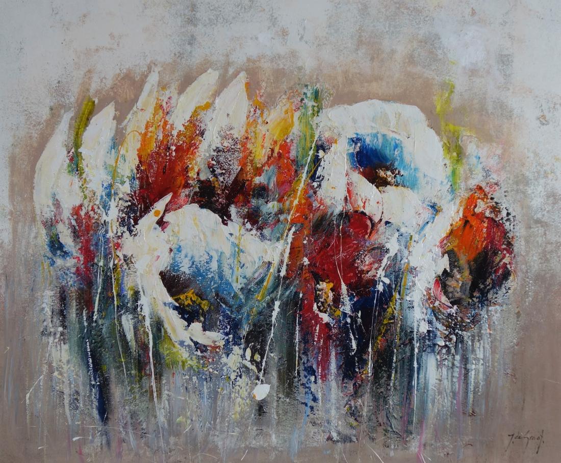 Schilderij bloemen 100x120