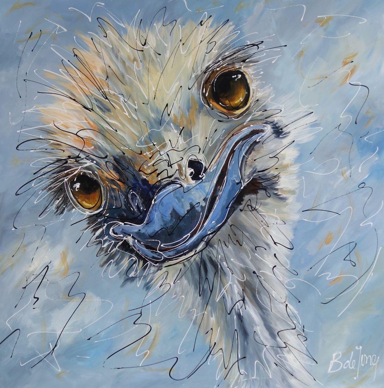 Schilderij struisvogel 100x100