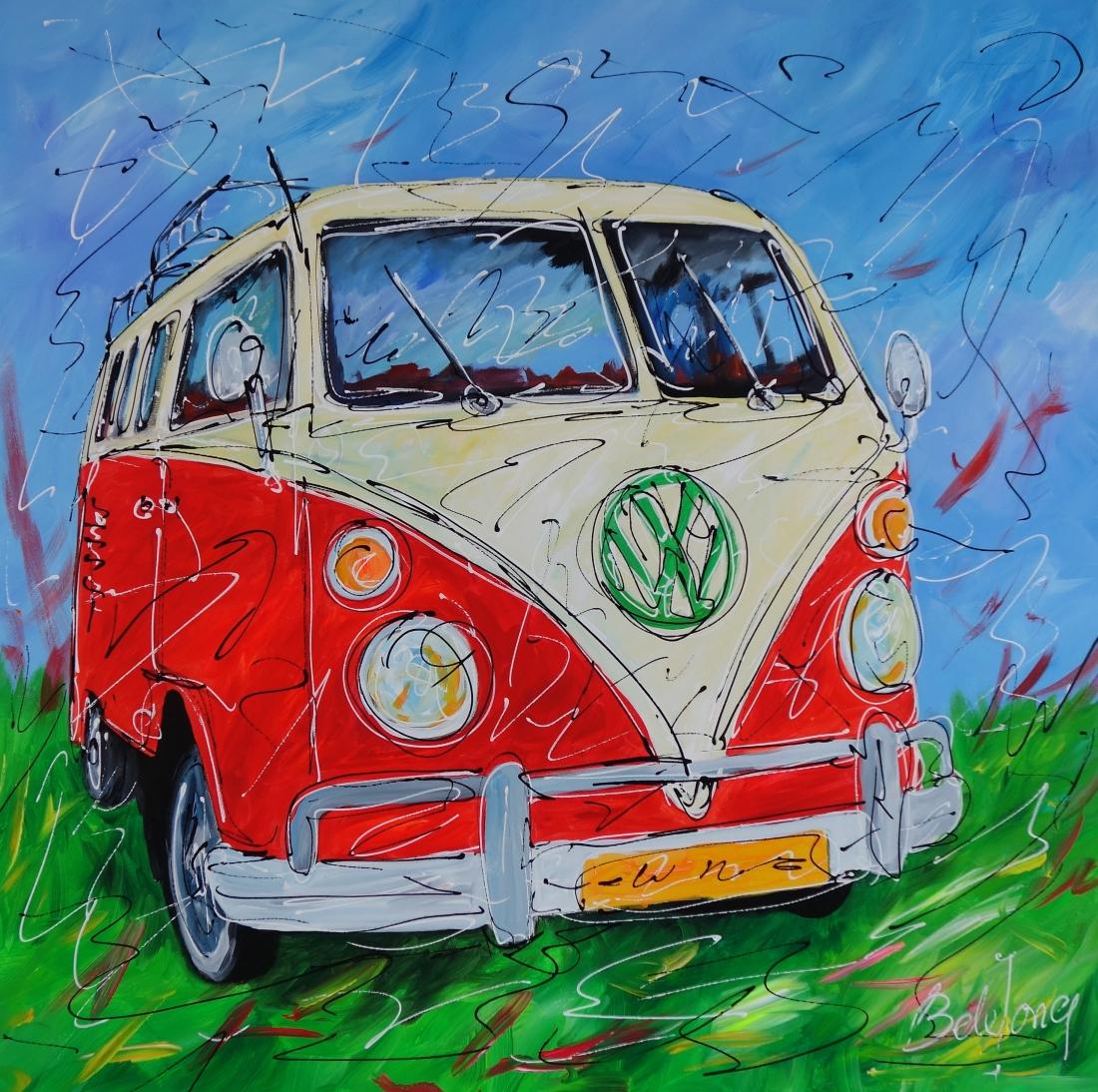 Schilderij volkswagen bus 100x100
